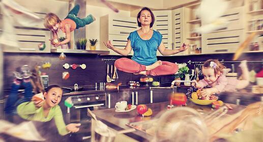 meditating-woman-flying-children