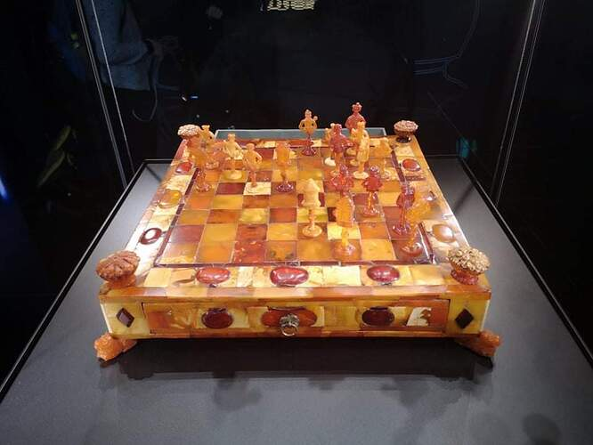 Amber chess board